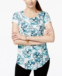 Alfani Petite Printed Rounded Hem T Shirt Only At Macy's