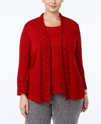 Alfred Dunner Plus Size Tis The Season Collection Embellished Layered Look Sweater