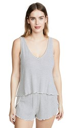 Madewell Ribbed Knit Pajama Tank Top In Stripe Pearl Ivory