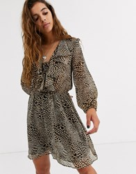 Topshop Mini Dress With Ruffle Front In Animal Print Tan