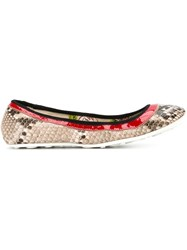 Car Shoe Snakeskin Effect Ballerinas Multicolour