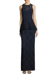 Rickie Freeman For Teri Jon Sleeveless Floral Lace Peplum Gown Navy