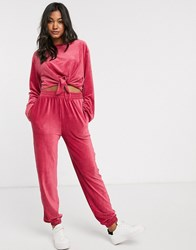 Micha Lounge Ribbed Jogger Coord In Baby Corduroy Pink