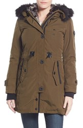 Women's Nanette Lepore Snorkel Parka With Removable Faux Fur Trim Olive