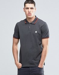 Pretty Green Polo Shirt With Twin Tip In Slim Fit Grey Dkgrey