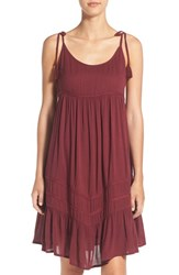 Rip Curl Women's 'Wild One' Woven Cover Up Dress Burgundy