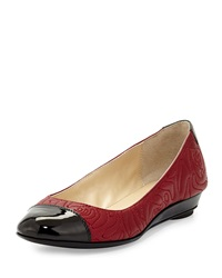 Taryn Rose Patent And Embossed Leather Ballet Shoe Red