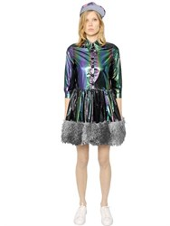 Maid In Love Dori Laminated Taffeta And Faux Fur Dress