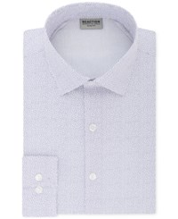 Kenneth Cole Reaction Men's Techni Slim Fit Three Way Stretch Performance Purple Pattern Dress Shirt Frosted Lilac
