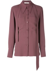 Tibi Lightweight Triacetate Blouse With Removable Tie Purple
