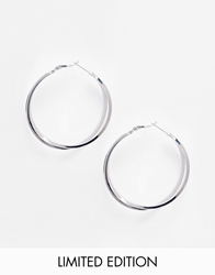 Lipsy Limited Edition Crystal Hoop Earrings Silver