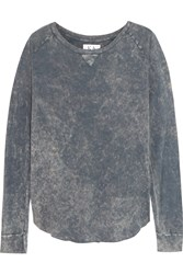 Zoe Karssen Washed Cotton And Modal Blend Jersey Top Gray
