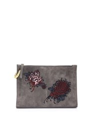 A.L.C. Floral Leather Pouch Anthracite