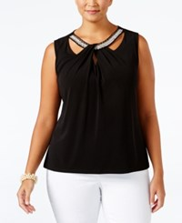 Nine West Plus Size Crisscross Cutout Shell Black