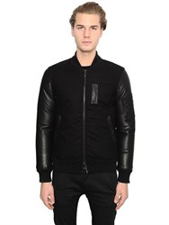 Duvetica Sonno Leather And Wool Down Bomber Jacket