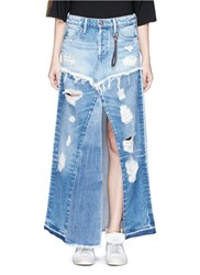 Tortoise 'Manani' Distressed Patchwork Vintage Denim Skirt Blue