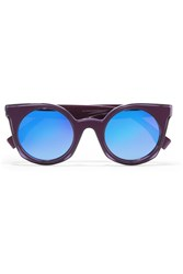 Fendi Cat Eye Acetate Mirrored Sunglasses Purple
