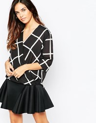 Ax Paris Wrap Front Blouse In Grid Print Black