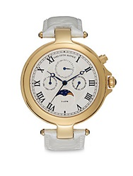 Saks Fifth Avenue Round Goldtone Stainless Steel And Cream Patent Leather Strap Watch