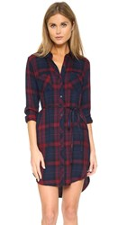 Rails Nadine Button Down Shirt Dress Cabernet Navy