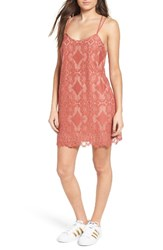 Fire Women's Strappy Lace Shift Dress Marsala