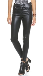 Gold Sign Virtual High Rise Skinny Jean Coated Black