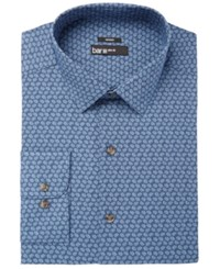 Bar Iii Men's Slim Fit Stretch Easy Care Blue Dot Print Dress Shirt Created For Macy's Medium Blue
