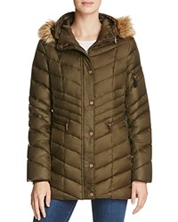 Marc New York Renee Faux Fur Trim Down Coat Dark Olive