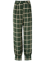 Adriana Degreas Checked Trousers Green
