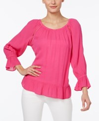 Inc International Concepts Crepe Peasant Top Only At Macy's Intense Pink