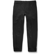 Dries Van Noten Slim Fit Stretch Cotton Trousers Black