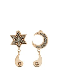 Etro Crystal Embellished Moon And Star Earrings Gold