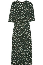 Marni Floral Print Crepe Midi Dress Forest Green