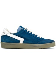 Leather Crown Lace Up Sneakers Blue