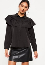 Missguided Black Frill Long Sleeve Collared Shirt