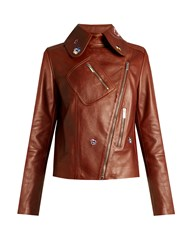 Christopher Kane Pansy Embroidered Leather Jacket Tan