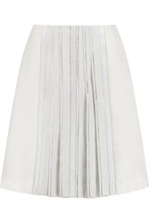 Tory Burch Noreen Embellished Pleated Wool And Silk Blend Skirt Cream