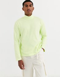 Asos White Loose Fit Long Sleeve Neon T Shirt With Turtle Neck Green
