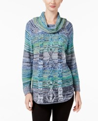 Jpr Marled Cable Knit Sweater Blue Green Combo French Blue