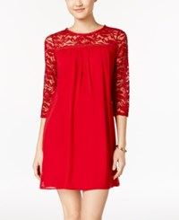As U Wish Juniors' Lace Trim Shift Dress Scarlet