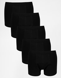 Asos Trunks 5 Pack In Black Save 28