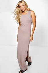Boohoo Split Side Pocket Slouch Maxi Dress Tan