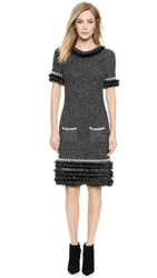 Wgaca Chanel Mohair Knit Dress Black White