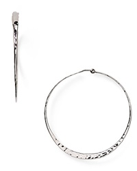 Nancy B Sterling Silver Hammered Hoop Earrings
