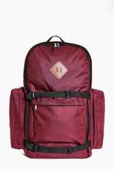 Boohoo Canvas Rucksack With Strap Detail Wine