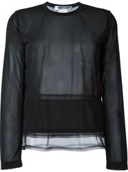 Comme Des Gara Ons Comme Des Gara Ons Semi Sheer Panel Trim Detail Long Sleeve T Shirt Black