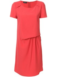 Emporio Armani Gathered Front T Shirt Dress Pink And Purple