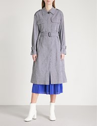 Moandco. Stretch Cotton Trench Coat Black And White