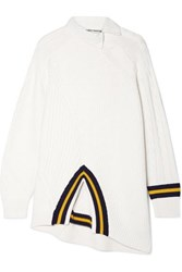Alexander Wang Oversized Asymmetric Twill Trimmed Striped Cotton Blend Sweater Ivory