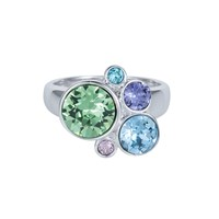 Aurora Multi Crystal Bubble Ring Silver